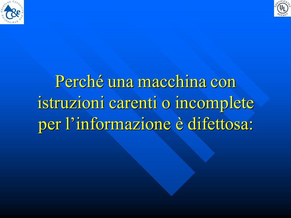 Perché una macchina con istruzioni carenti o incomplete per l'informazione è difettosa: