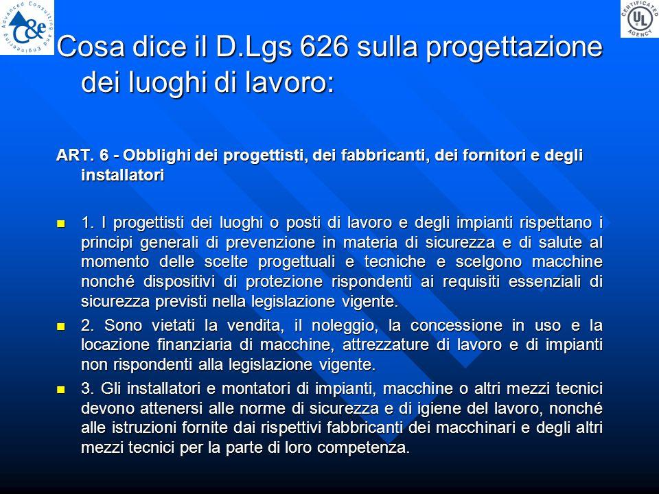Cosa dice il D.Lgs 626 sulla progettazione dei luoghi di lavoro: ART.