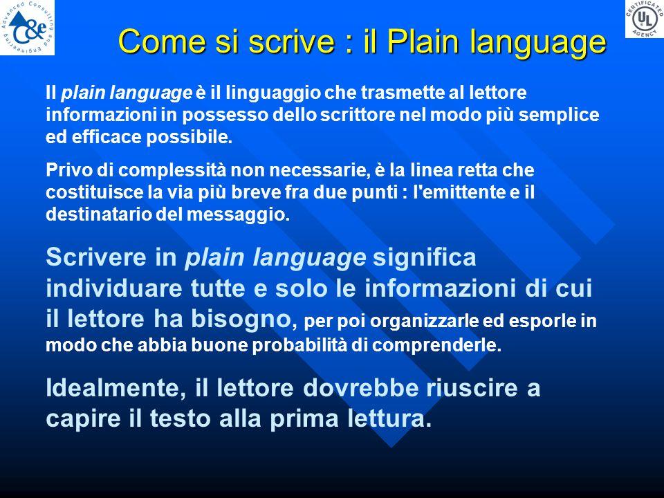 Il plain language è il linguaggio che trasmette al lettore informazioni in possesso dello scrittore nel modo più semplice ed efficace possibile.