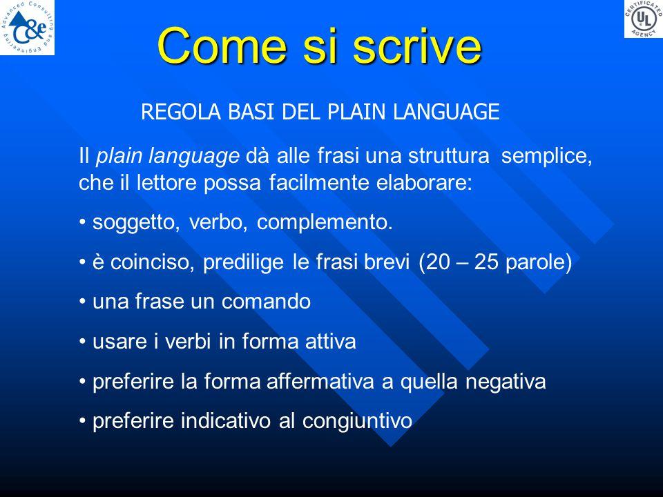 REGOLA BASI DEL PLAIN LANGUAGE Come si scrive Il plain language dà alle frasi una struttura semplice, che il lettore possa facilmente elaborare: soggetto, verbo, complemento.