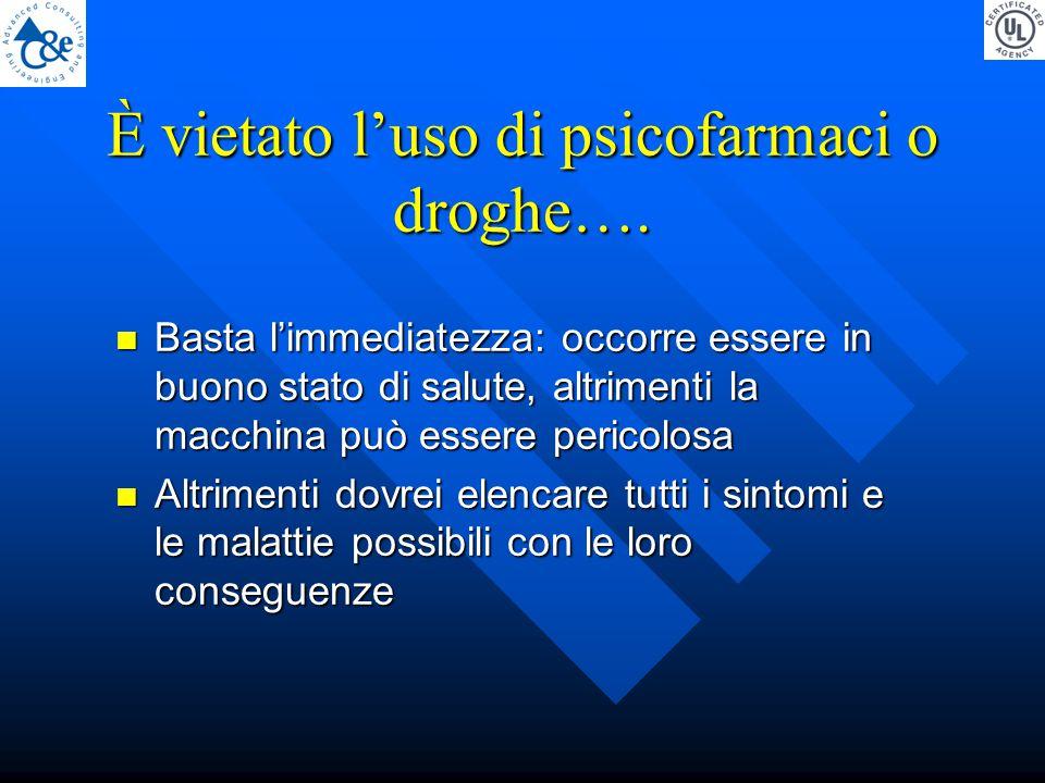 È vietato l'uso di psicofarmaci o droghe….