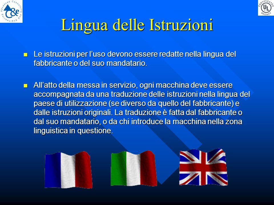 Lingua delle Istruzioni Le istruzioni per l'uso devono essere redatte nella lingua del fabbricante o del suo mandatario.