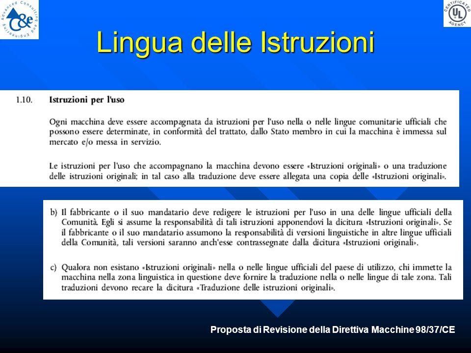 Lingua delle Istruzioni Proposta di Revisione della Direttiva Macchine 98/37/CE