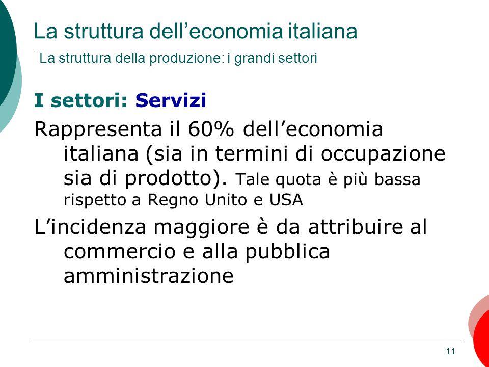 11 I settori: Servizi Rappresenta il 60% dell'economia italiana (sia in termini di occupazione sia di prodotto). Tale quota è più bassa rispetto a Reg