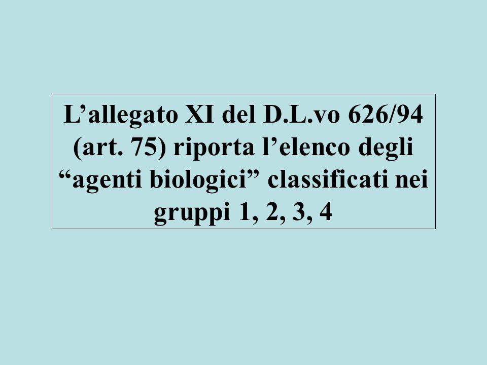 L'allegato XI del D.L.vo 626/94 (art.