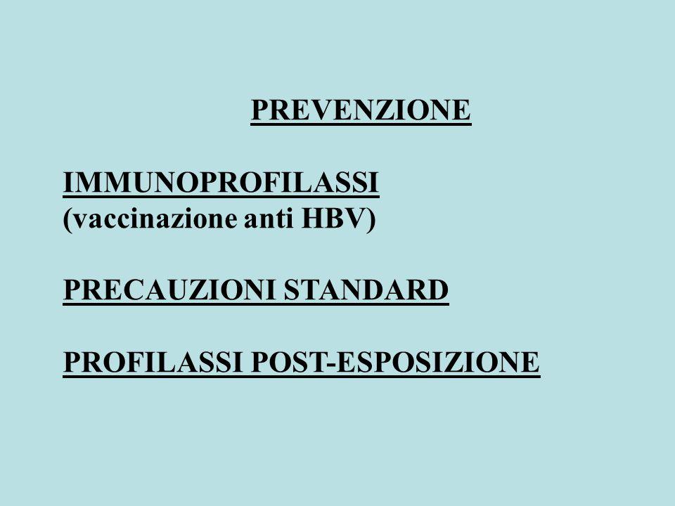 PREVENZIONE IMMUNOPROFILASSI (vaccinazione anti HBV) PRECAUZIONI STANDARD PROFILASSI POST-ESPOSIZIONE