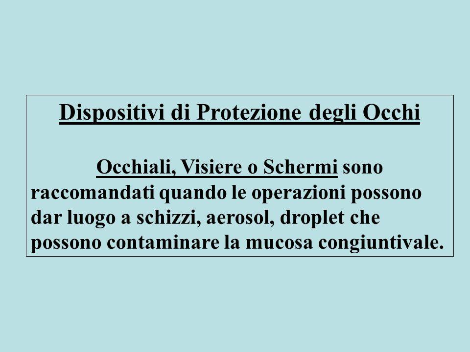 Dispositivi di Protezione degli Occhi Occhiali, Visiere o Schermi sono raccomandati quando le operazioni possono dar luogo a schizzi, aerosol, droplet che possono contaminare la mucosa congiuntivale.