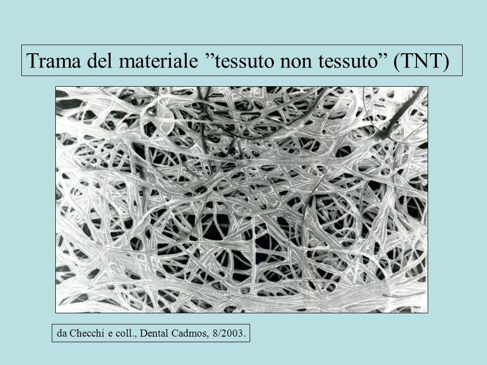 Trama del materiale tessuto non tessuto (TNT) da Checchi e coll., Dental Cadmos, 8/2003.