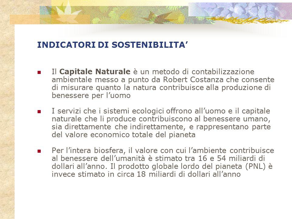 INDICATORI DI SOSTENIBILITA' Il Capitale Naturale è un metodo di contabilizzazione ambientale messo a punto da Robert Costanza che consente di misurar