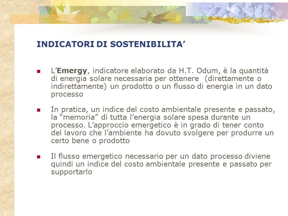 INDICATORI DI SOSTENIBILITA' L'Emergy, indicatore elaborato da H.T. Odum, è la quantità di energia solare necessaria per ottenere (direttamente o indi