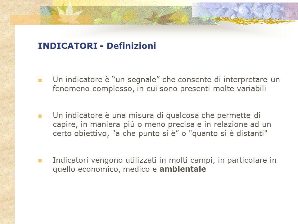 """INDICATORI - Definizioni Un indicatore è """"un segnale"""" che consente di interpretare un fenomeno complesso, in cui sono presenti molte variabili Un indi"""