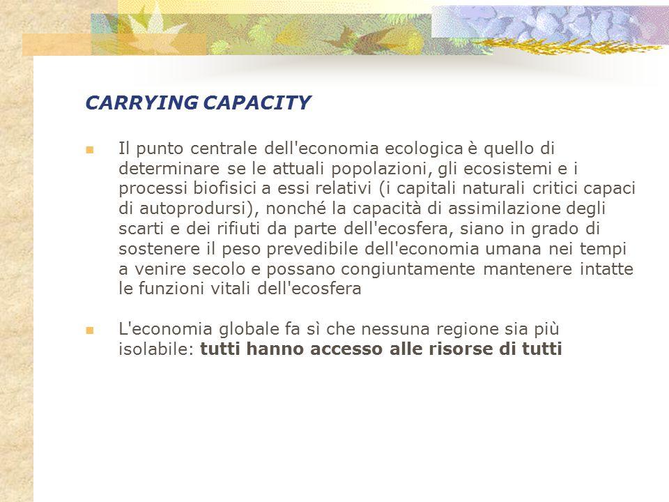 CARRYING CAPACITY Il punto centrale dell'economia ecologica è quello di determinare se le attuali popolazioni, gli ecosistemi e i processi biofisici a