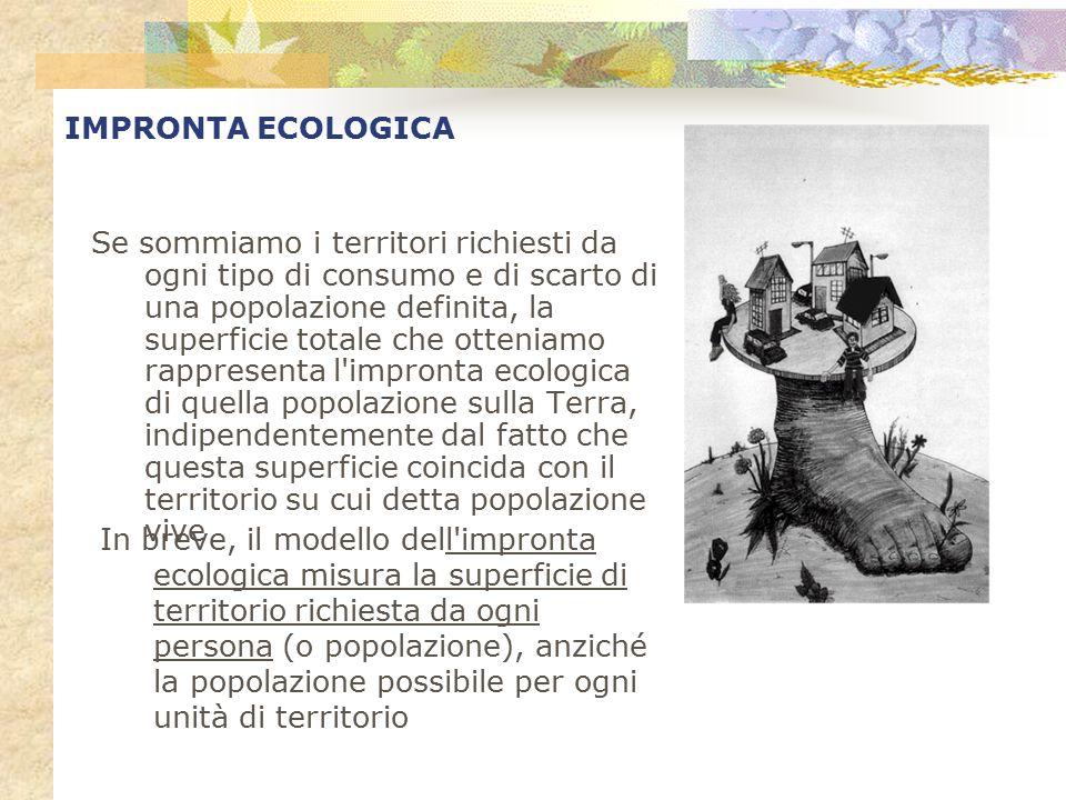 IMPRONTA ECOLOGICA Se sommiamo i territori richiesti da ogni tipo di consumo e di scarto di una popolazione definita, la superficie totale che ottenia