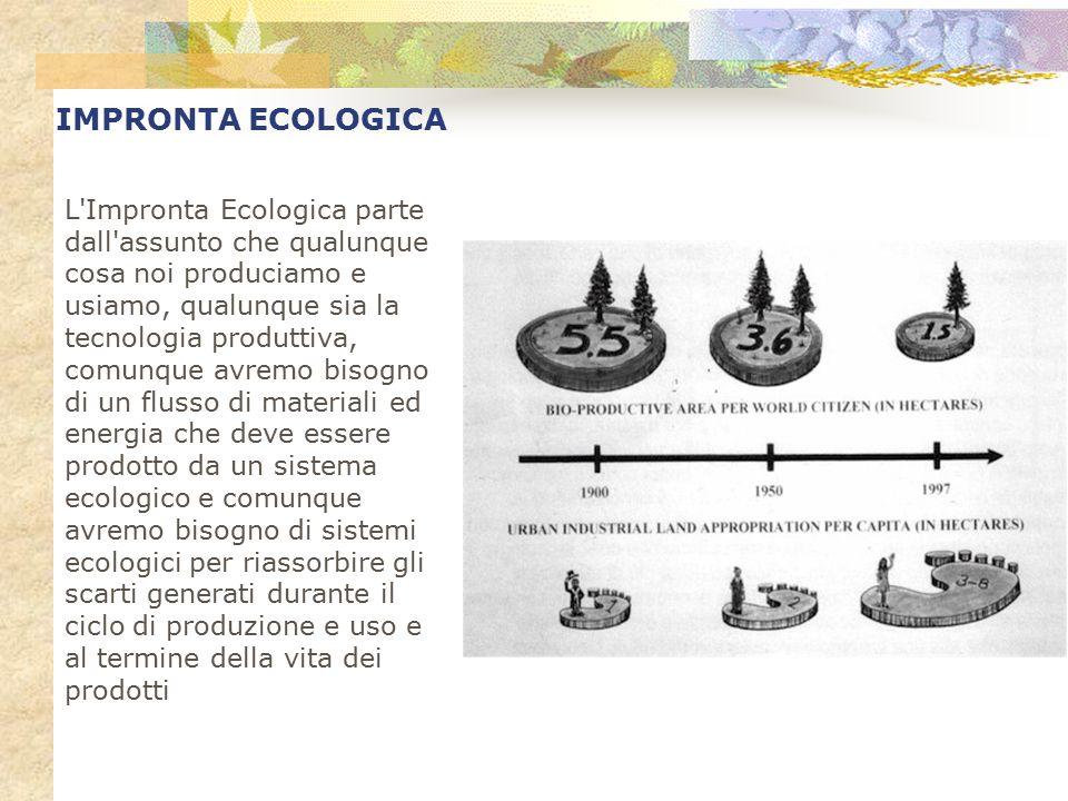 IMPRONTA ECOLOGICA L'Impronta Ecologica parte dall'assunto che qualunque cosa noi produciamo e usiamo, qualunque sia la tecnologia produttiva, comunqu