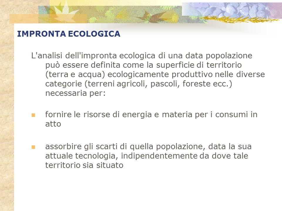 L'analisi dell'impronta ecologica di una data popolazione può essere definita come la superficie di territorio (terra e acqua) ecologicamente produtti