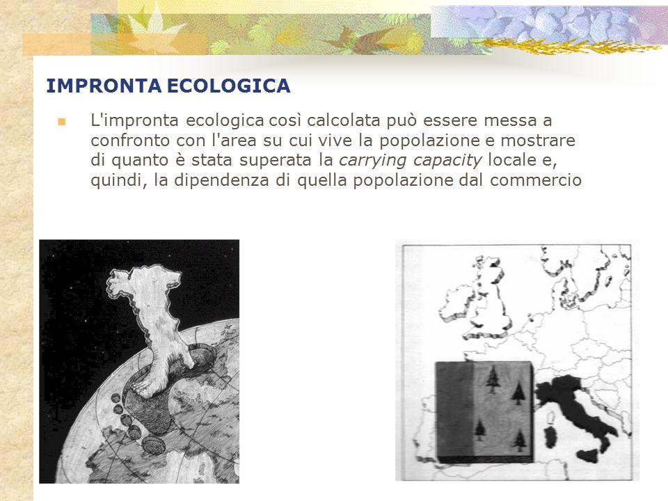 IMPRONTA ECOLOGICA L'impronta ecologica così calcolata può essere messa a confronto con l'area su cui vive la popolazione e mostrare di quanto è stata