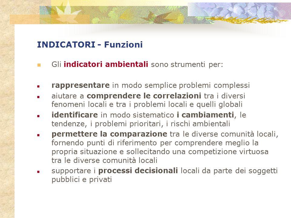INDICATORI - Funzioni Gli indicatori ambientali sono strumenti per: rappresentare in modo semplice problemi complessi aiutare a comprendere le correla