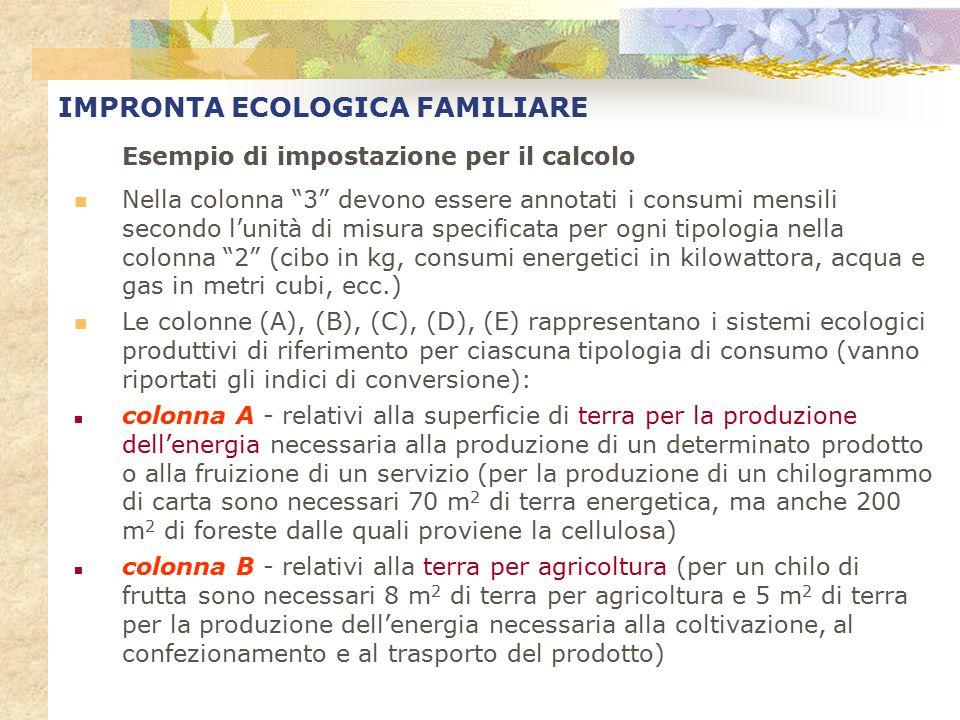 """IMPRONTA ECOLOGICA FAMILIARE Esempio di impostazione per il calcolo Nella colonna """"3"""" devono essere annotati i consumi mensili secondo l'unità di misu"""