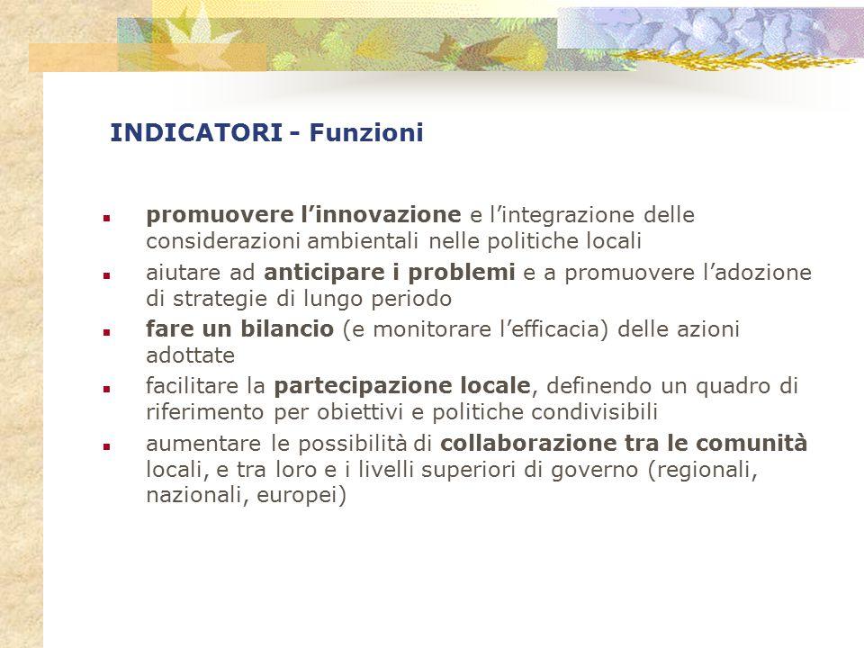 INDICATORI - Funzioni promuovere l'innovazione e l'integrazione delle considerazioni ambientali nelle politiche locali aiutare ad anticipare i problem