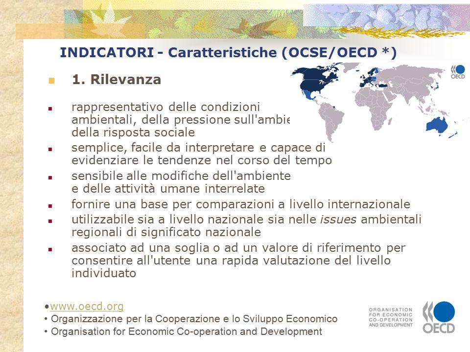 INDICATORI - Caratteristiche (OCSE/OECD *) 1. Rilevanza rappresentativo delle condizioni ambientali, della pressione sull'ambiente, della risposta soc