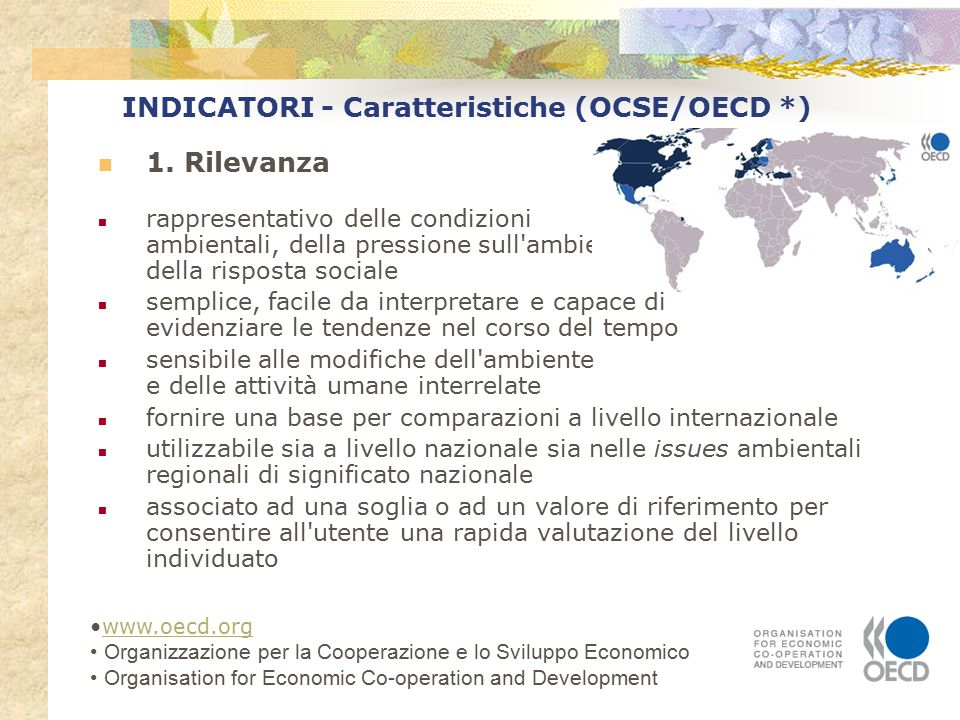 INDICATORI - Caratteristiche (OCSE/OECD) 2.