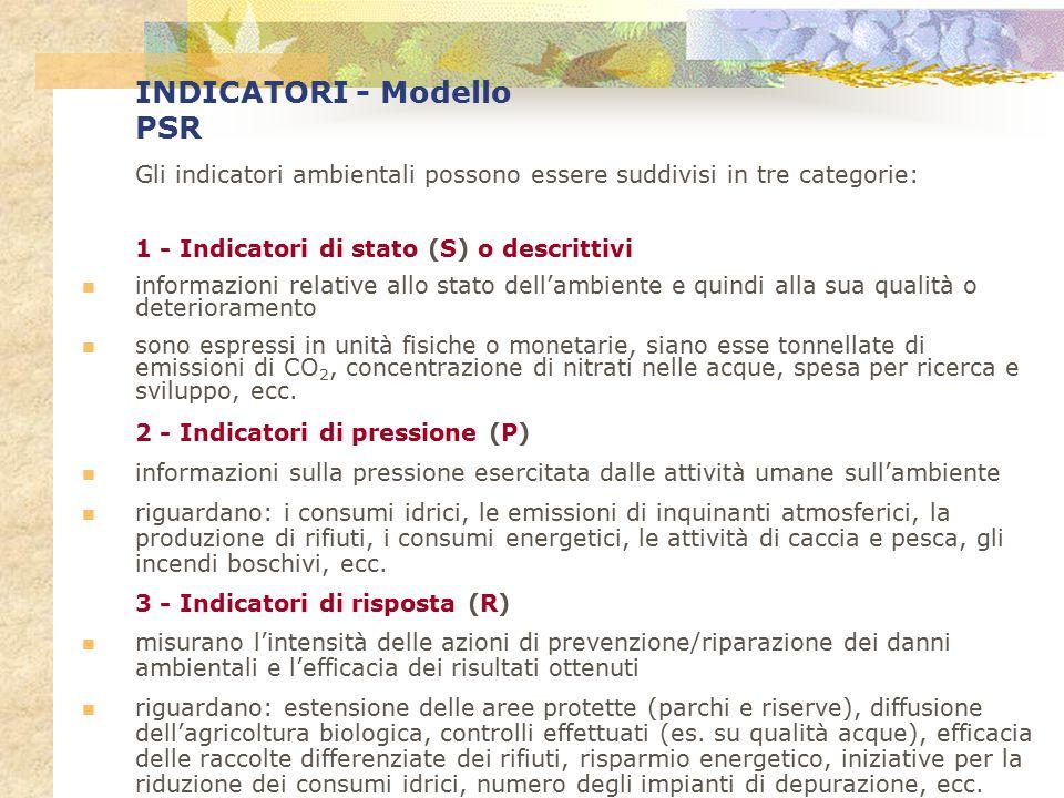 INDICATORI - Modello PSR Gli indicatori ambientali possono essere suddivisi in tre categorie: 1 - Indicatori di stato (S) o descrittivi informazioni r