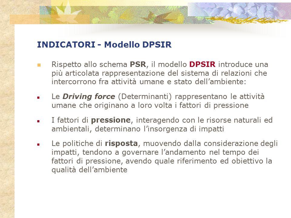 INDICATORI - Modello DPSIR Rispetto allo schema PSR, il modello DPSIR introduce una più articolata rappresentazione del sistema di relazioni che inter