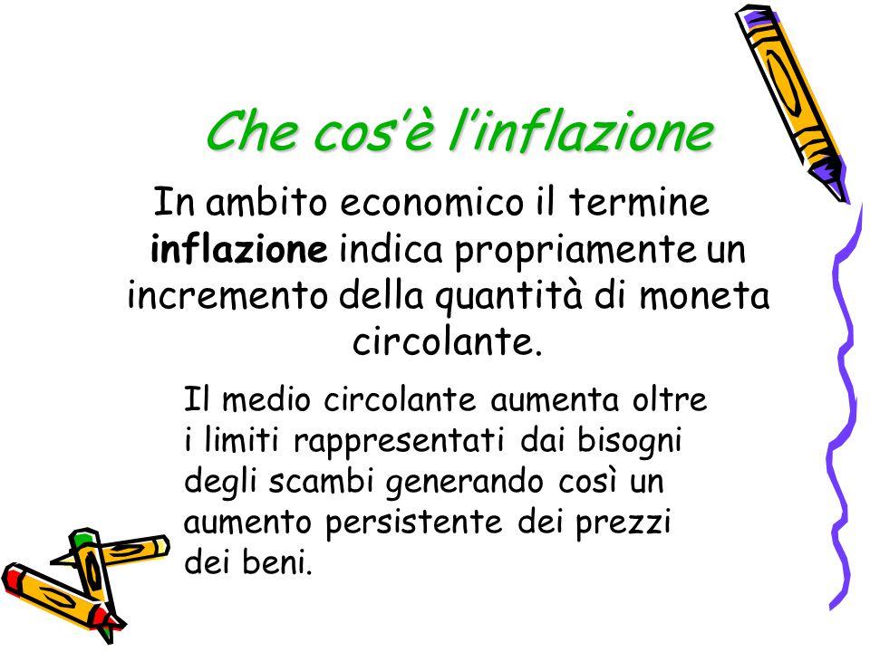 Che cos'è l'inflazione In ambito economico il termine inflazione indica propriamente un incremento della quantità di moneta circolante. Il medio circo