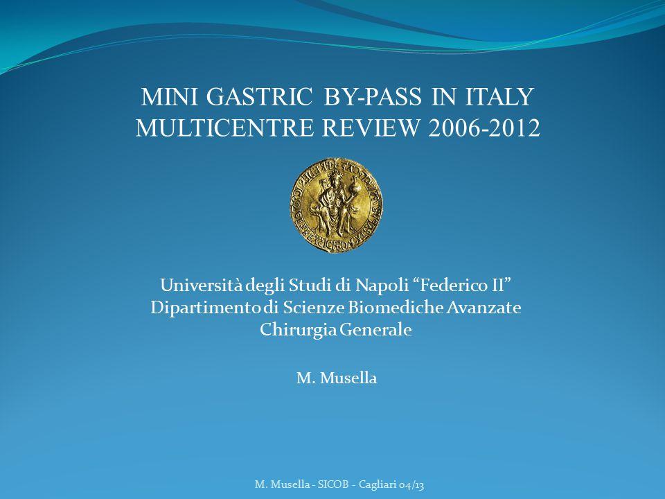 2005 M. Musella - SICOB - Cagliari 04/13 Mini Gastric Bypass in Italy 2006-2012