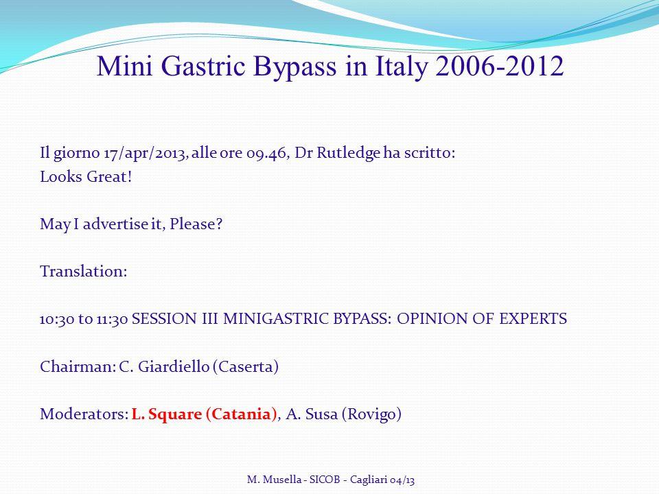 M. Musella - SICOB - Cagliari 04/13 Mini Gastric Bypass in Italy 2006-2012 Il giorno 17/apr/2013, alle ore 09.46, Dr Rutledge ha scritto: Looks Great!