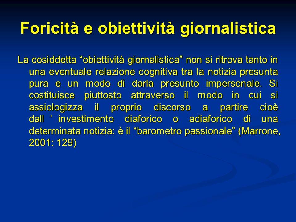 Foricità e obiettività giornalistica La cosiddetta obiettività giornalistica non si ritrova tanto in una eventuale relazione cognitiva tra la notizia presunta pura e un modo di darla presunto impersonale.