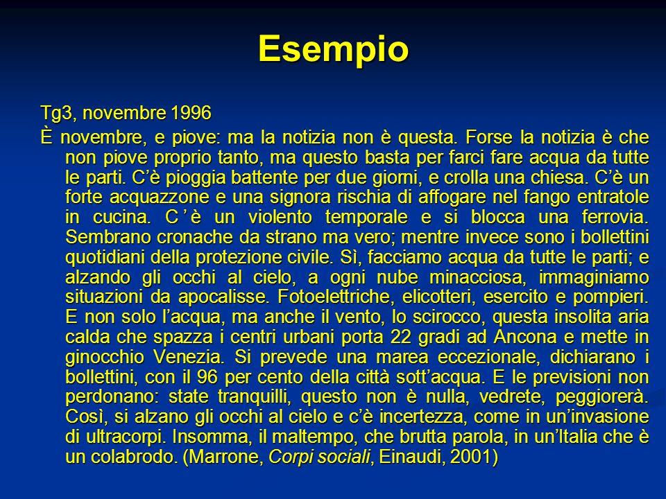 Esempio Tg3, novembre 1996 È novembre, e piove: ma la notizia non è questa.