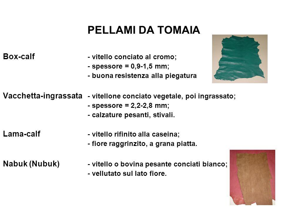 PELLAMI DA TOMAIA Box-calf - vitello conciato al cromo; - spessore = 0,9-1,5 mm; - buona resistenza alla piegatura Vacchetta-ingrassata - vitellone co