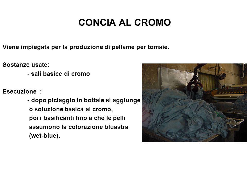 CONCIA AL CROMO Viene impiegata per la produzione di pellame per tomaie. Sostanze usate: - sali basice di cromo Esecuzione : - dopo piclaggio in botta