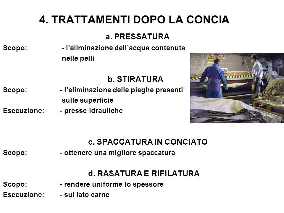 4. TRATTAMENTI DOPO LA CONCIA a. PRESSATURA Scopo: - l'eliminazione dell'acqua contenuta nelle pelli b. STIRATURA Scopo:- l'eliminazione delle pieghe