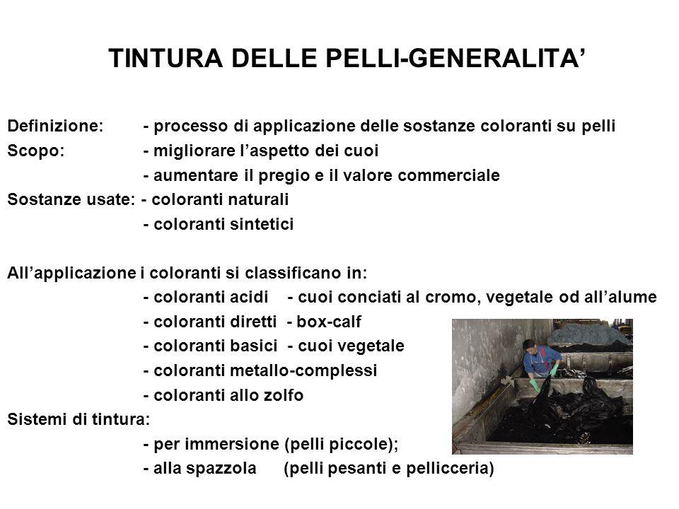 TINTURA DELLE PELLI-GENERALITA' Definizione:- processo di applicazione delle sostanze coloranti su pelli Scopo:- migliorare l'aspetto dei cuoi - aumen