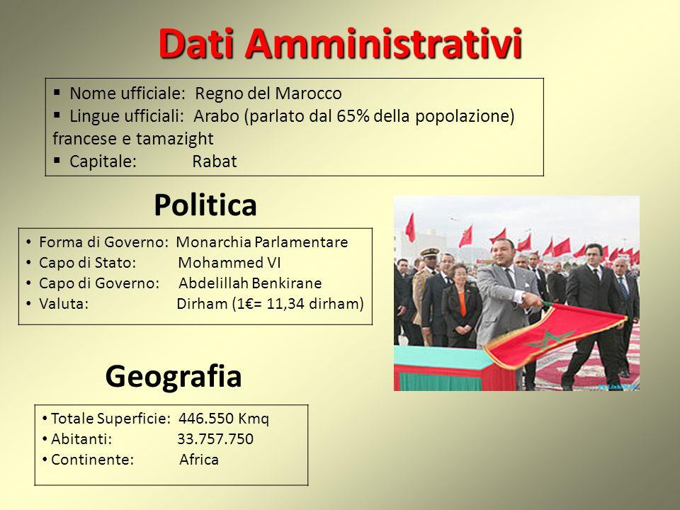 DatiAmministrativi Dati Amministrativi  Nome ufficiale: Regno del Marocco  Lingue ufficiali: Arabo (parlato dal 65% della popolazione) francese e ta
