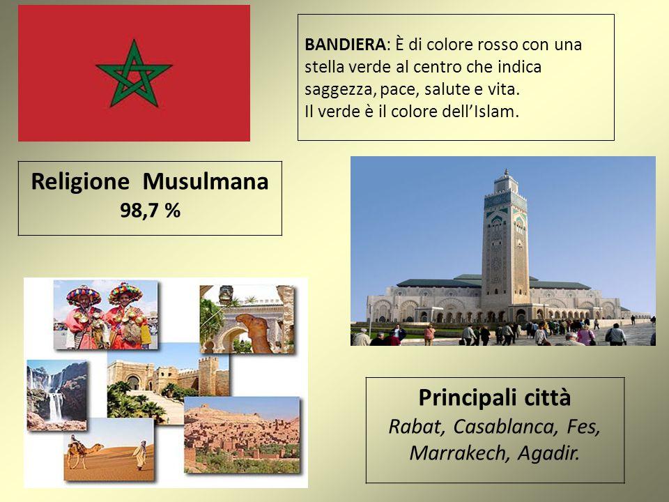 BANDIERA: È di colore rosso con una stella verde al centro che indica saggezza, pace, salute e vita. Il verde è il colore dell'Islam. Religione Musulm