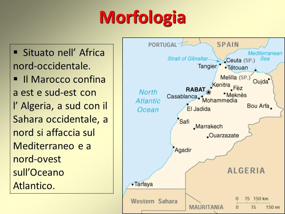 Morfologia  Situato nell' Africa nord-occidentale.  Il Marocco confina a est e sud-est con l' Algeria, a sud con il Sahara occidentale, a nord si af