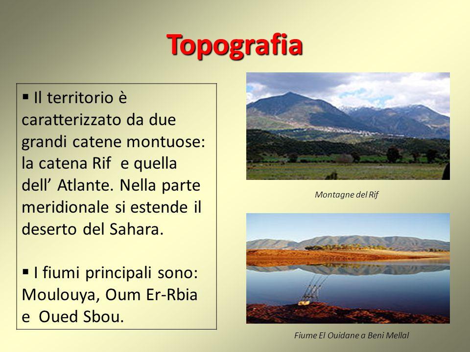 Topografia  Il territorio è caratterizzato da due grandi catene montuose: la catena Rif e quella dell' Atlante. Nella parte meridionale si estende il
