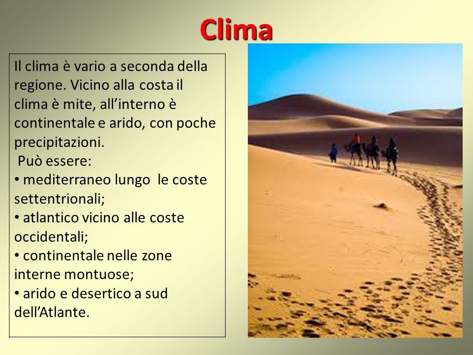 Clima Il clima è vario a seconda della regione.