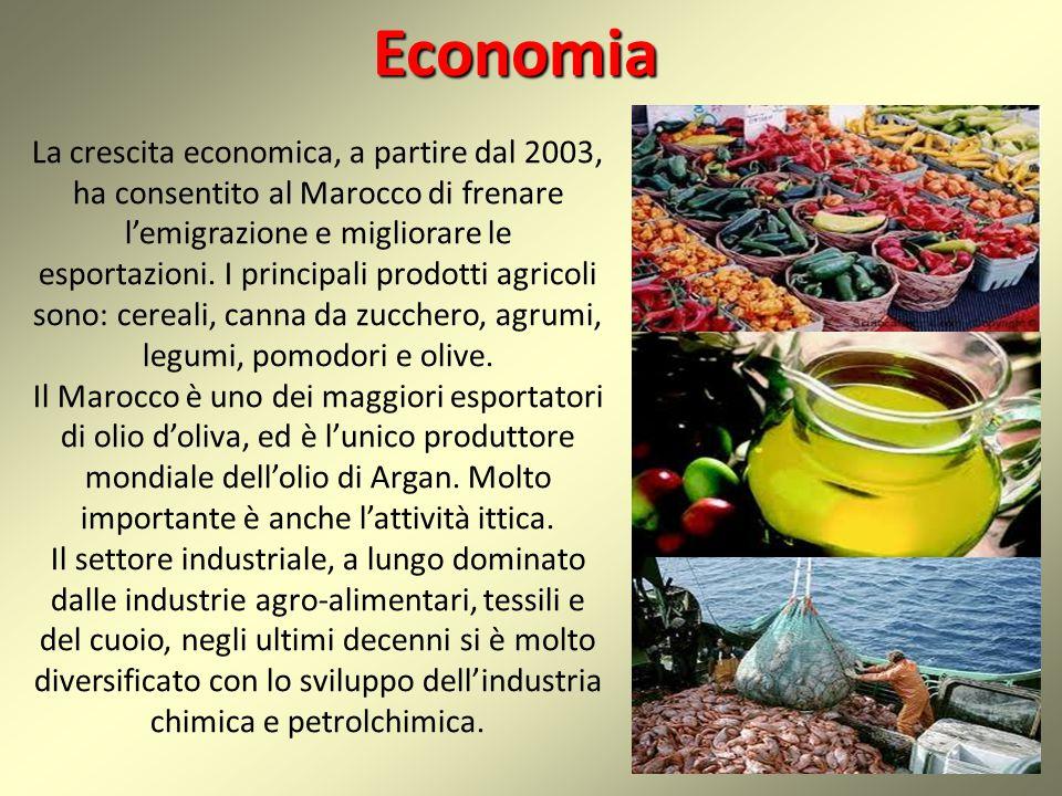 Economia La crescita economica, a partire dal 2003, ha consentito al Marocco di frenare l'emigrazione e migliorare le esportazioni. I principali prodo
