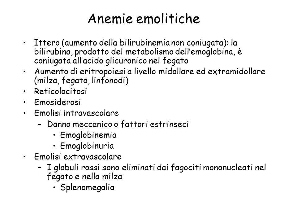 Anemie emolitiche Ittero (aumento della bilirubinemia non coniugata): la bilirubina, prodotto del metabolismo dell'emoglobina, è coniugata all'acido g