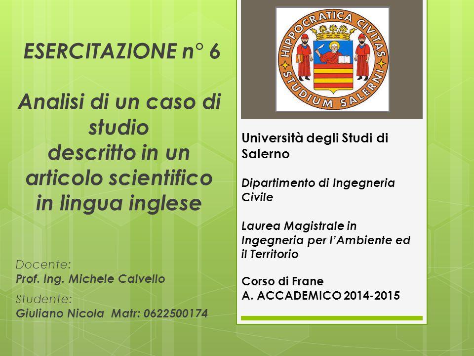 Introduzione Corso di Frane ANNO ACCADEMICO 2014-15; Docente: Prof.