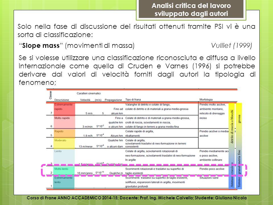 Analisi critica del lavoro sviluppato dagli autori Corso di Frane ANNO ACCADEMICO 2014-15; Docente: Prof.