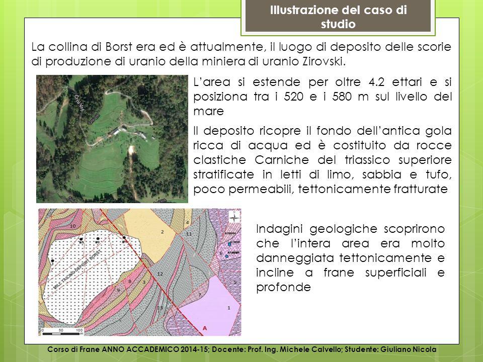 Illustrazione del caso di studio Corso di Frane ANNO ACCADEMICO 2014-15; Docente: Prof.