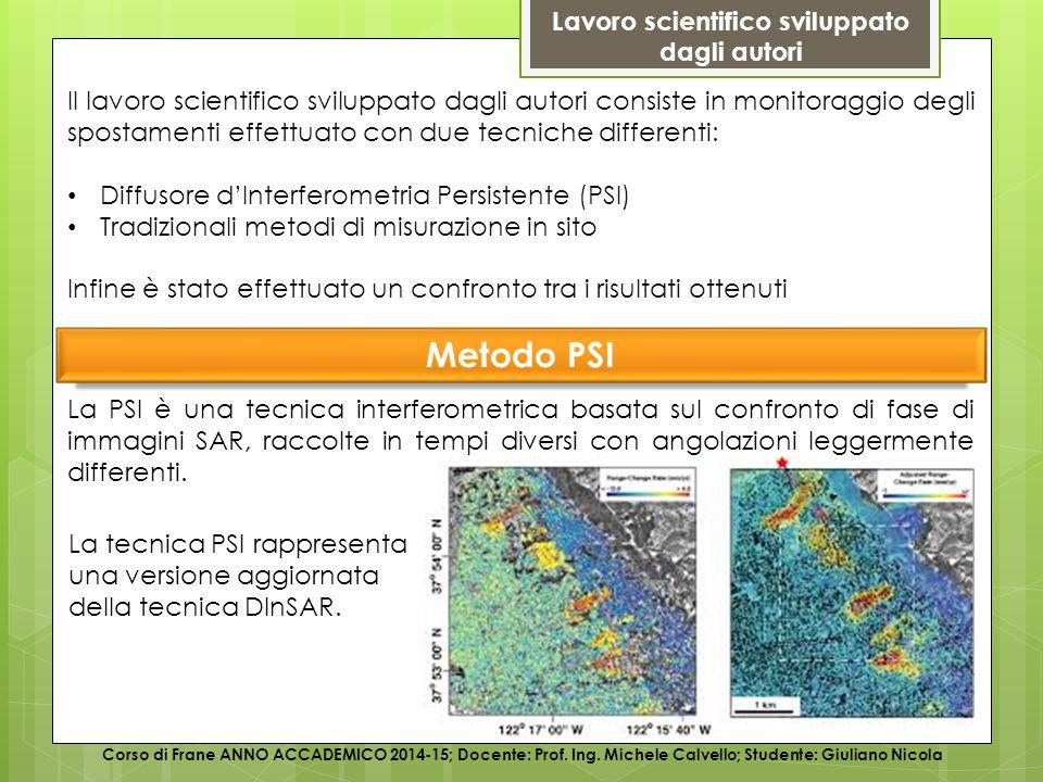 Illustrazione del caso di studio – Metodo PSI Corso di Frane ANNO ACCADEMICO 2014-15; Docente: Prof.