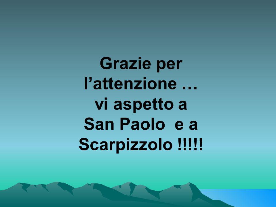Grazie per l'attenzione … vi aspetto a San Paolo e a Scarpizzolo !!!!!