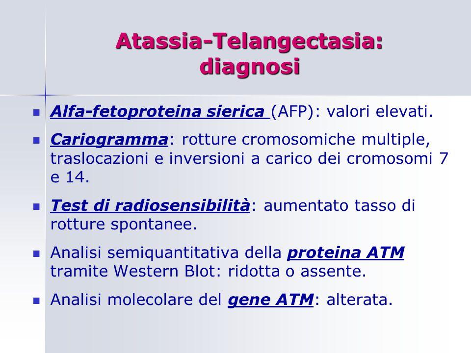 Atassia-Telangectasia: diagnosi Alfa-fetoproteina sierica (AFP): valori elevati.