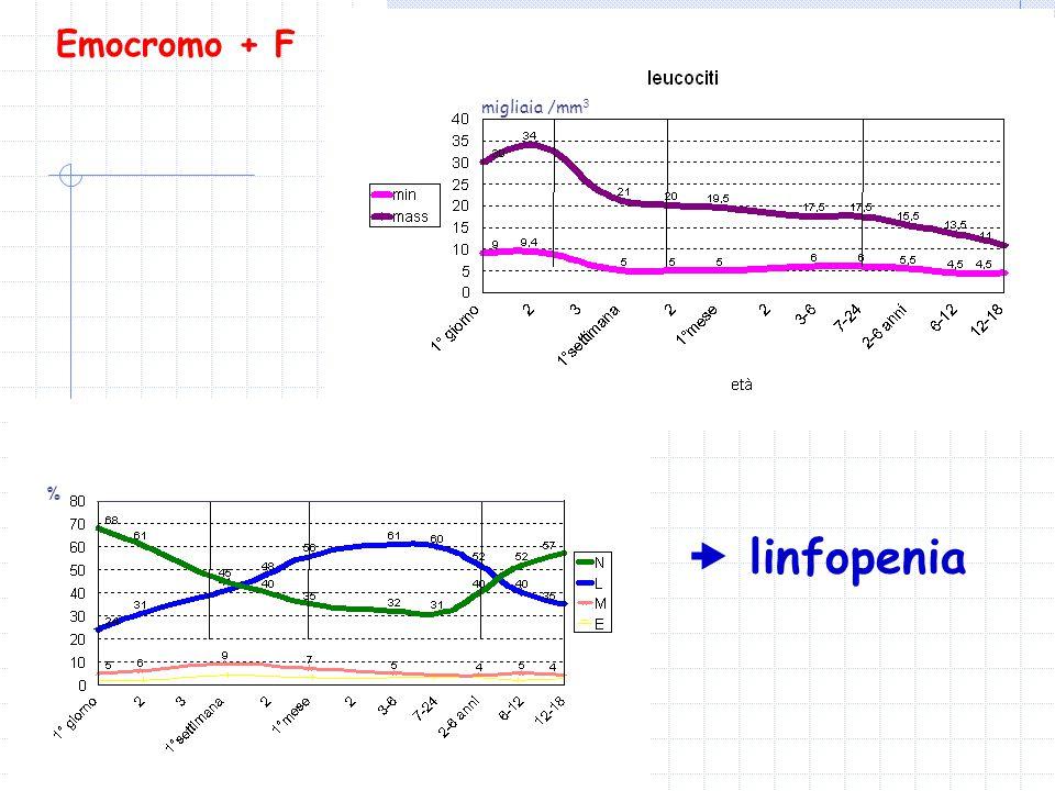 Emocromo + F % migliaia /mm 3  linfopenia